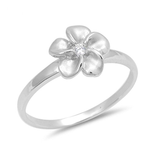 Plumeria-ring (Ring aus Sterlingsilber mit Zirkonia - Plumeria Blume)