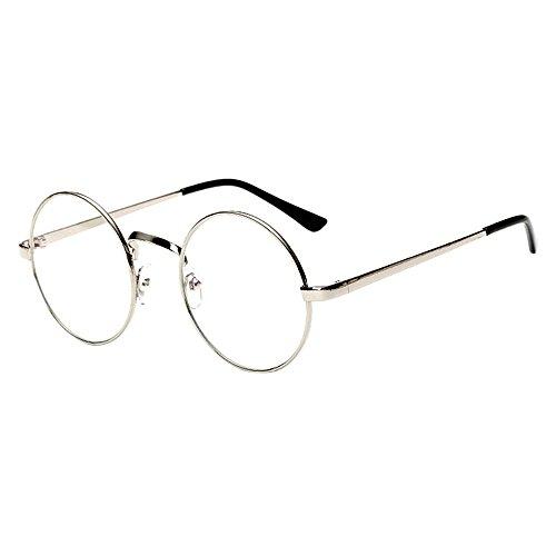 bennyuesdfd Unisex Retro Runde Brille Metall Frame Metall Klare Linse Brillenfassungen Damen Herren Brillenfassung Fensterglas (Silber)