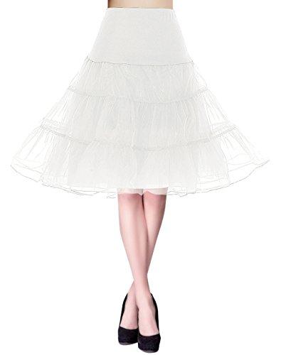 ge Retro Reifrock Unterrock Underskirt Crinoline für Partykleid Abendkleid Cocktailkleid Ivory S (Kostüme Karneval Taille 50)