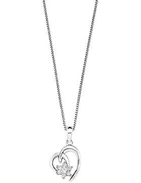 Amor Damen-Kette mit Anhänger Herz 925 Silber rhodiniert Zirkonia weiß 42 cm 532006