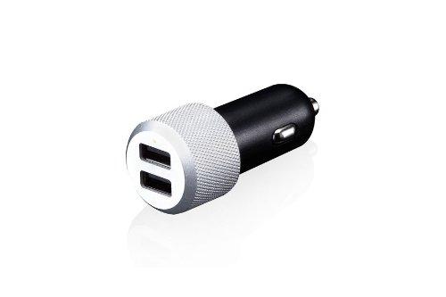 Just Mobile Highway Max Alimentatore da Auto 2 Porte USB da 2.1A + Cavo Micro USB per Smartphone, Tablet E Altri Dispositivi Alimentati Tramite USB, Nero
