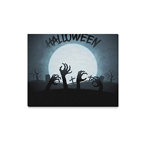 JIUCHUAN Wandkunst Malerei Eps 10 Halloween Zombies Mond Drucke Auf Leinwand Das Bild Landschaft Bilder Öl Für Zuhause Moderne Dekoration Druck Dekor Für Wohnzimmer