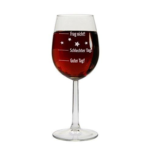 Weinglas Guter Tag!, Schlechter Tag! - Frag nicht!, Rot-/Weißweinglas, Geschenkidee, Geburtstagsgeschenk, Weihnachtsgeschenk, Geschenk für sie/ihn, zum Muttertag, Vatertag