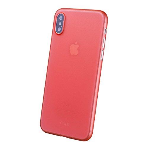 doupi UltraSlim Case iPhone X ( iPhone 10 ) [ Chargeur sans fil pris en charge ] fin mat ultra mince et ultra léger Bumper Cover Housse de Protection Shell Coque - noir Rouge