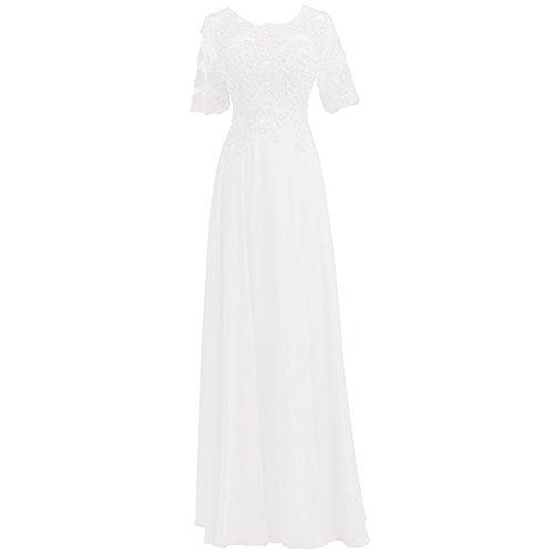 HWAN Frauen eine Linie kurzen ?rmeln Perlen Chiffon Brautjungfer Kleid formale Abendkleid (Abende Chiffon Alex)