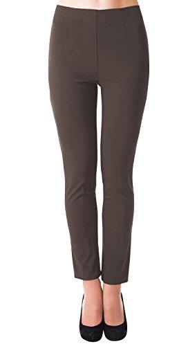 DANAEST Damen stretch Hose gerades Bein ( 491 ), Grösse:M, Farbe:Braun (Leinen Braun)