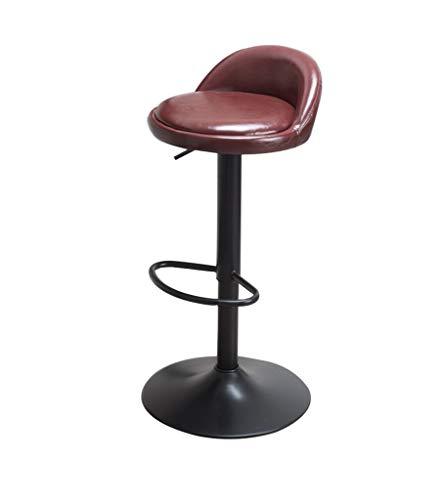 Stapelstühle Barstühle, Hubstühle Simple Home Leisure Drehstuhl Hoher Hocker Breite 34 × Höhe 60-80cm richtige Sitzhaltung Stühle an der Rezeption (Farbe : Brown) -