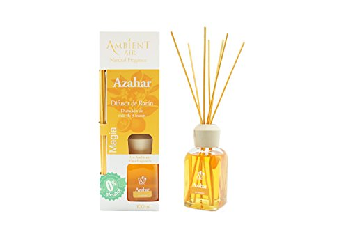 Ambientair Mikado Air Freshener for Home, Orange Aroma, Crystal, Yellow, 8 x 8 x 24 cm