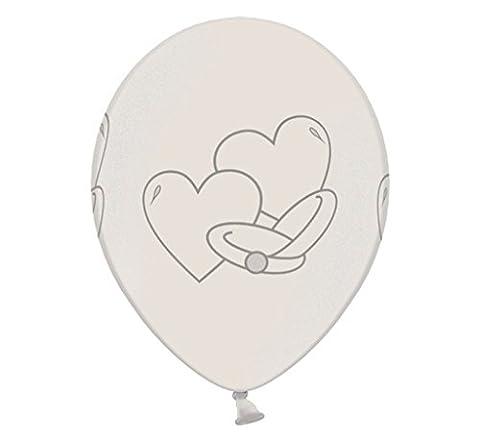 6 Ballons WEDDING RINGS Hochzeitsringe metallic pearl 30cm Durchmesser,