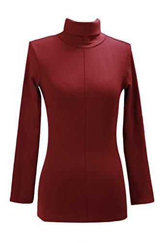 MisShow Damen Herbst Rollkragen-Pullover mit Stretchkomfort Langarmshirt Wein Rot S -