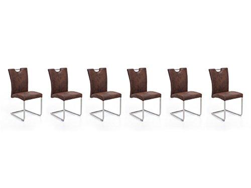 Woodkings 6X Schwingstuhl Reefton, Freischwinger Stoff Braun, Vintage Optik, Esszimmerstuhl, Modern, mit Edelstahl, Stuhl mit Griff, Designstuhl, Metallstuhl, Küchenstuhl, 6er Set