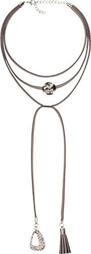 styleBREAKER-Choker-Kette-mit-Rosen-Anhnger-und-verzierten-Enden-Karabinerverschluss-Quaste-und-Ornament-Necklace-3-reihig-Damen-05030027