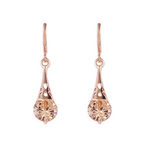 XIANNU Damen-Hängeohrringe,Die einfachen Frauen Mode Schmuck Lange Ohrringe Champagner runden Kristall Ohrringe für Frauen Mode Party Jewelr