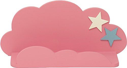 Sonpó Online - Modelo AFA19 - Estante infantil con forma de nube de AFAEPS para colocar libros, juguetes, peluches, accesorios - Hecho a mano de manera artesanal en madera - Color rosa con estrellas decorativas