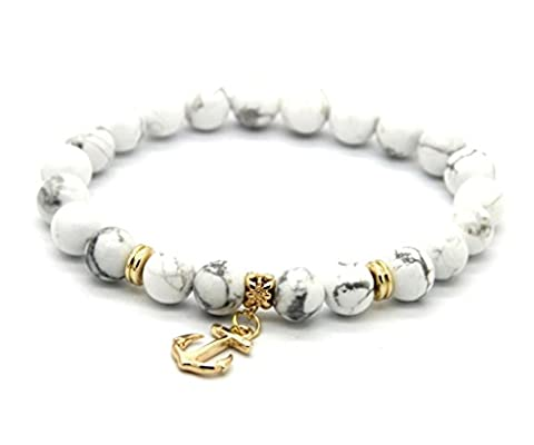 GOOD.designs Chakra-Bracelet made of natural Gemstone beads, Gold Anchor Pendant, women-jewellery (White)
