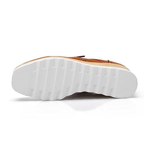 AgooLar Femme Pu Cuir à Talon Correct Carré Couleur Unie Lacet Chaussures Légeres Jaune