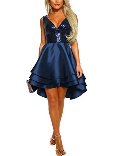 Minetom Damen Festlich Hochzeit Kleider Glänzend Pailletten V-Ausschnitt Ärmellos Prinzessin Tutu Cocktailkleid Partykleid Abendkleid Blau DE 38 - Pailletten Applique V-ausschnitt Kleid