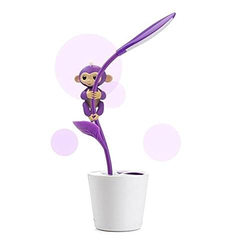 Lampe de bureau USB pour lecture avec un crayon - Petite lampe de table souple pour enfants Lecture - Bureau de bureau intéressant Lumière décoration - Baby Monkey Climbing Holder