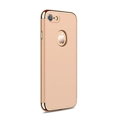 UKDANDANWEI Apple iPhone 7 Luxe 3 In 1 Hybrid Dur PC Etui Protecteur Bumper Housse avec Electroplate Plating Mirror Back Coquille Ultra Mince Protective Plastique Case Cover Anti-Scratch et Anti-Slip  Doré