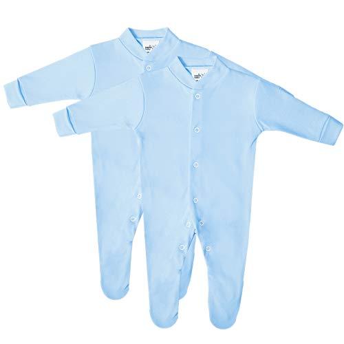 Pyjama Bébé en Coton de Première Qualité - Body, 100% Coton, Fabriqué en Grande-Bretagne, Super Doux, Manches Longues, Fermeture à Bouton Pression, Lavable en Machine, Lot de 2 Body - Bleu, 12-18 mois