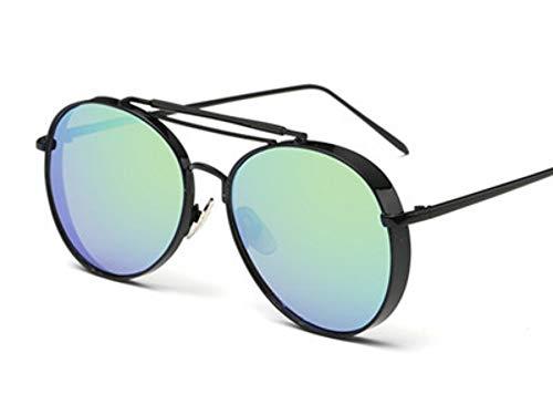 Sonnenbrillen. Retro Pilot Sonnenbrille Frauen Gespiegelt Steampunk Runder Kreis Schattierungen Vintage Outdoor Reisen Sommer Staub Uv400 Schwarz Grün