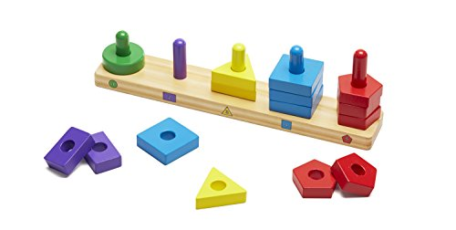 Melissa & Doug Stack and Sort Board - Wooden Educational Toy With 15 Solid Wood Pieces