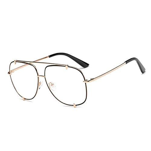 Mode Übergroße Pilot Sonnenbrille Frauen UV400 Retro Markendesigner Big Frame Sonnenbrille For Weibliche Damen Brillen (Frame Color : Multi, Lenses Color : C6 Gold Clear)