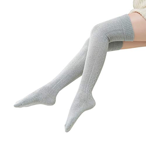 Bakicey Damen Kniestrümpfe Mädchen Socken Overknee Strümpfe Strumpfhosen Baumwollstrümpfe Stricksocken Stützkniestrümpfe Gestrickte Socken Hoch Über das Knie Lange Socken Winter Strümpfe (Grau)
