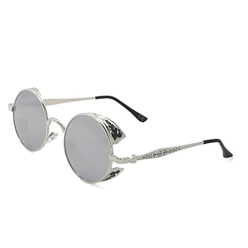 AMZTM Retro Steampunk Pequeña Redondas Gafas De Sol Polarizadas Hombre Mujer Moda Lente Reflejada Marco de Metal Gafas de Conducción Protección UV400 (Plateado Marco Plateado Lente, 51)