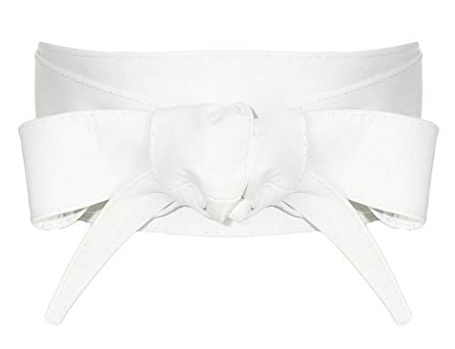 malito Mujer Cinturón Cuero Cintura Cinturón Ancho G500 (blanco)