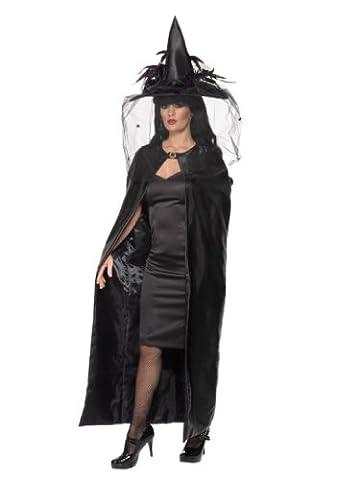Smiffys Déguisement Femme, Cape de sorcière, Taille unique, Couleur: Noir, 36934