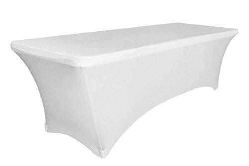 Event Linens 6ft Stretch Tischdecke–Spandex Tight Fit, rechteckige Tisch cover-dj, Messen, Verkäufer weiß