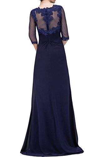 La_mia Braut Navy Blau Langes Brautmutterkleider ABendkleider mit spitze Ballkleider mit langarm Neu Royal Blau