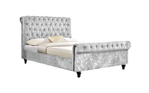 Galaxy mercato tappezzata imperatore letto chesterfield | struttura letto classico design slitta letto–tessuto in velluto, silver, doppio