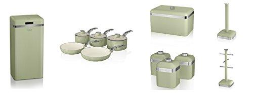 Swan Green Kitchen Accessories Retro Set Of 12 - 5 Piece Saucepan Set , Retro Bread Bin, 3 Canisters, Towel Pole, 6 Mug Tree And Sensor Rubbish Bin Set