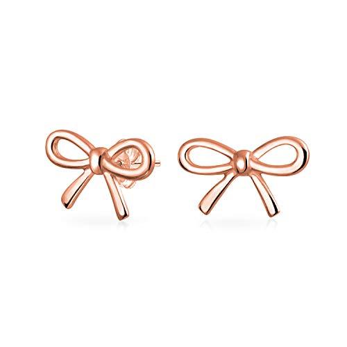 Dünnen Kleinen Schleife Geburtstagsgeschenk Knoten Stud Petite Ohrringe Für Damen Stieg Aus Vergoldetem Sterling Silber