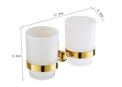 BATHAE Goldene Luxus Copper Donut Basis Bad-Accessoires Badtuchregal Handtuchhalter Papierhalter Kleiderhaken 3001, Doppel-Cupholder (Doppel-donut)