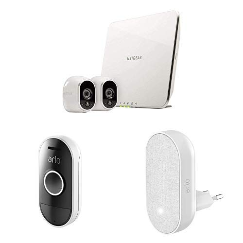Arlo HD Smart Home HD-Überwachungskamerasystem mit Cloud Speicher, 2er Kameraset & Smart Doorbell und Chime inklusive -
