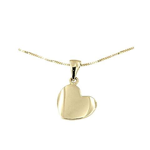 Lucchetta - Damen-Halskette 14 Karat 585 Gelbgold Anhänger Herz Diamant-Effekt - Gold Kette 42cm