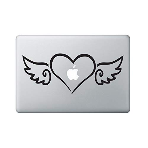 fenshop Herz mit Flügeln Laptop Aufkleber Tablet Laptop Vinyl Dekor Aufkleber Tablet Laptop Abziehbilder Abnehmbare Muster Dekor PVC Aufkleber 24 * 10cm - 10 Applique