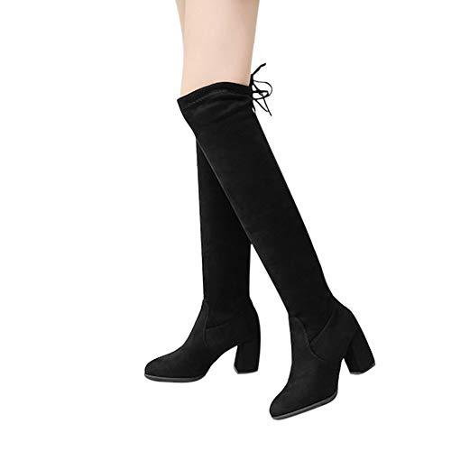 adc9da6f6f4351 Yazidan Frau Overknee-Stiefel schnüren sich Sexy High Heels Schuhe Winter  Damen Schenkel Party.