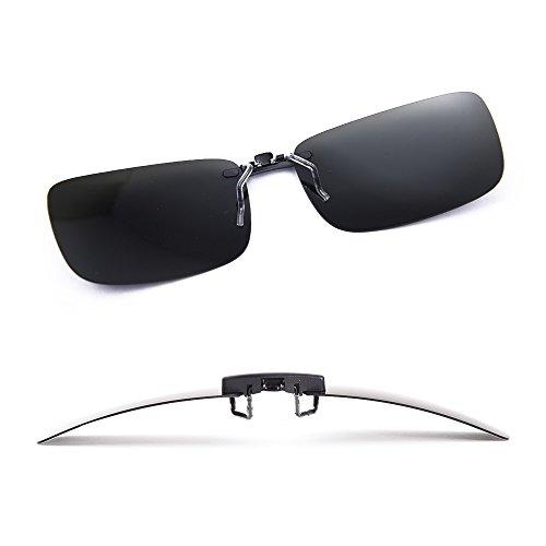 Clip polarisé unisexe sur des lunettes de soleil pour lunettes de prescription-Good Lunettes de soleil clip pour lunettes de myopie extérieure / conduite / pêche (Black) Dq2wmrvf91