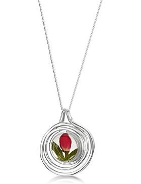 Shrieking Violet: Kettenanhänger - mini Rosenblüte - Spirale - 925 Sterling Silber - 45 cm Kette