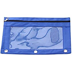 GOUPPER 3-Ring Pen Pencil Pouch with Transparent High Capacity Pencil Pouch Bag with Three Rivet Enforced Holes for School Office and Art (Blue)