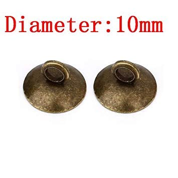 Sellify 50pcs Rame connettore pendente Della Perla Bail Caps Bronzo Antico di 10mm Rotondi di risultati dei monili: 10mm Bronzo Antico