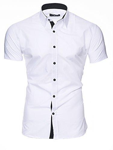 KAYHAN Herren Kurzarm Hemd Original mehrere Farben zur Auswahl Bügelleicht Florida Weiß Florida