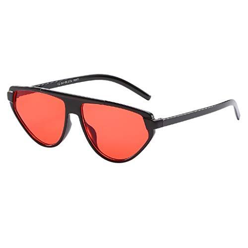 VENMO Mode Herren Retro kleine ovale Sonnenbrille für Damen Metallrahmen Shades Brillen Katzenauge Metall Rand Rahmen Damen Frau Mode Sonnebrille Gespiegelte Linse Women Sunglasses (S-Hot Pink)