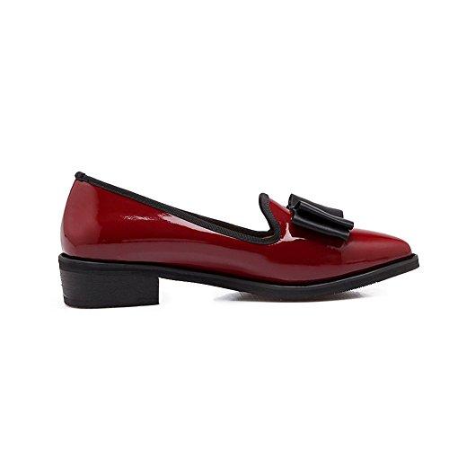 Adee Femme Rétro nœuds brevet Chaussures Pompes en cuir Rouge bordeaux/blanc