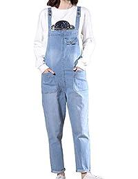 Donna Pantaloni Retro Sciolto Senza Maniche - Jeans Lavati Lunghe Tuta  Tutina Pagliaccetto Salopette con Tasca b311fc8daa08