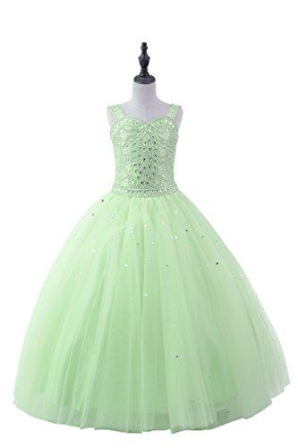 (TuanYuan Blumen M?dchen Sweetheart Perlen Hochzeitsfeier T¨¹ll BallKleider Light Green 16)